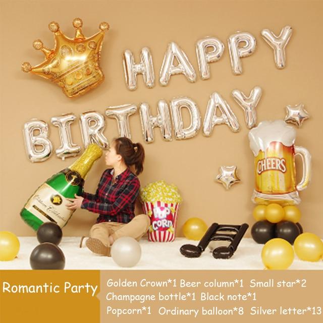 birthday balloon set layout aluminum balloon baby birthday letter balloon package send team decoration combination package