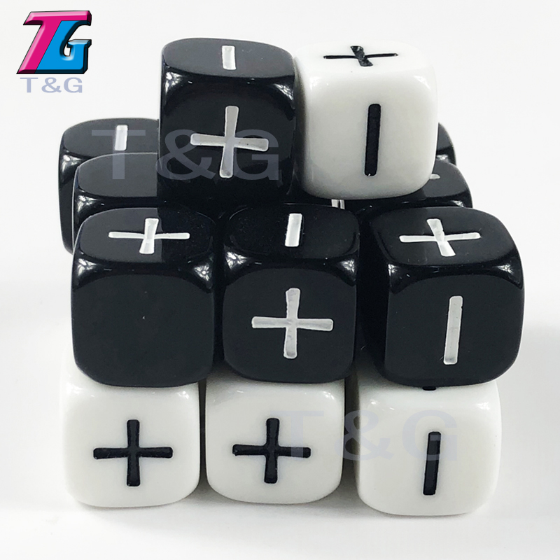 High Quality Opaque Dice 16mm Fate Dice Black  White For Boardgame 10PCS