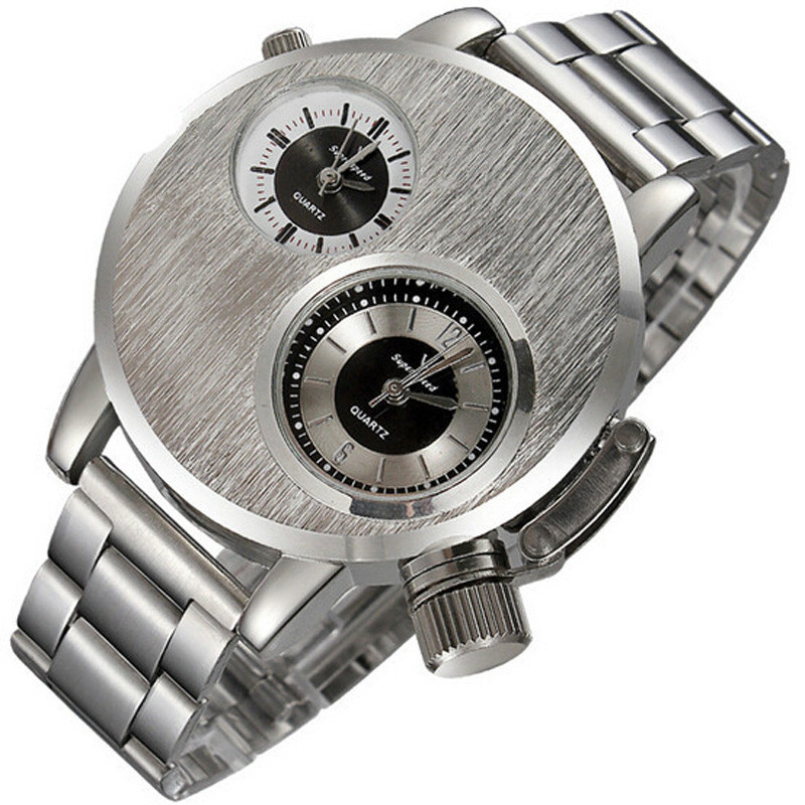 Excellent Quality Sport Watch Men Dual Time Zone Dial Silver Full Steel Clock Business Male Relogio