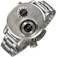Excellent Quality Sport Watch Men Dual Time Zone Dial Silver Steel Clock Business Male Relogio Digital Quartz-watch dropship