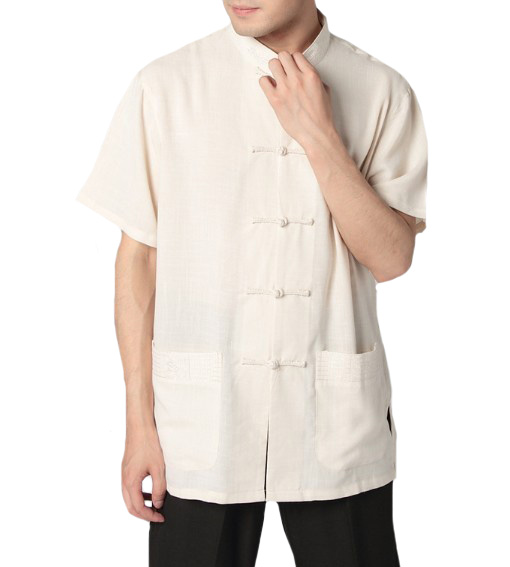 High Quality Beige Chinese Men's Linen Shirt Kung Fu Shirt Top Tradition Pocket Costume Plus Size XXXL MS002