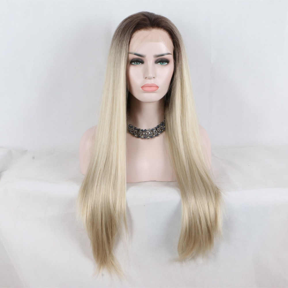 Marquesha Natural Looking Half Hand Tied Long Straight Heat Resistant Fiber Dark Root #6 Synthetic Lace Front Ombre Blonde Wig