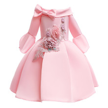 цена на Appliques Flowers Pink Princess Dress Toddler Girls Half Sleeve Evening Dress Girl Wedding Dress Kids Clothing Children Costume
