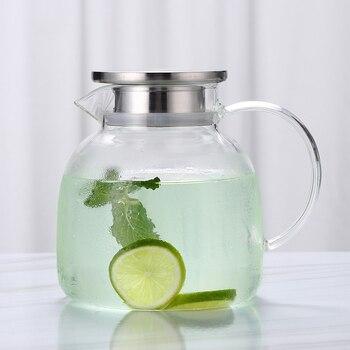 1300/1800 мл стеклянный чайник в европейском стиле с фильтром из нержавеющей стали, кувшин для чая со льдом, горшок для молочного сока, Ультра пр...