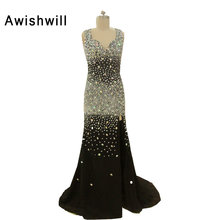 Awishwill Real Photo Open Back With Front Slit Party Dress