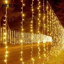 JULELYS 10 متر x 4 متر 1280 لمبات LED الزفاف ستائر زخرفية أضواء عيد الميلاد أكاليل مصابيح عطلات لحديقة ساحة الفناء الخلفي