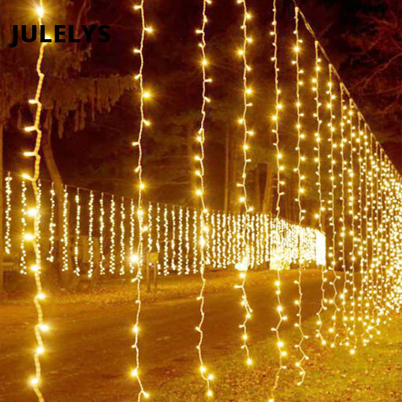 JULELYS 10m x 4m 1280 Bulbs LED Wedding Decoration Curtain Lights Christmas Garlands Holiday Lights For Backyard Square Garden