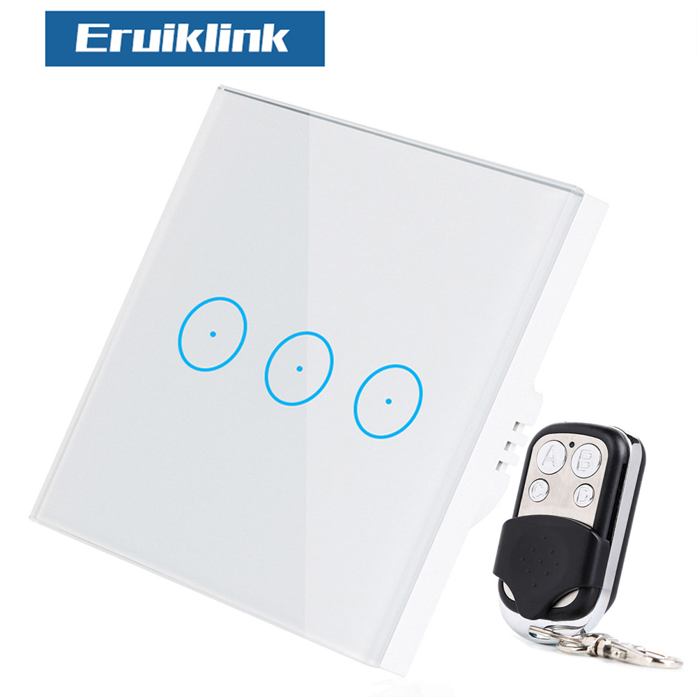 Eruiklink EU/UK Standard 3 Gang 1 Way Wireless Remote Control Light Switches,RF433 Remote Wall Touch Switch 220V for Smart Home eu uk standard wall touch switch white glass panel 1 2 3 gang 1 way rf433 wireless remote control light switches led indicator