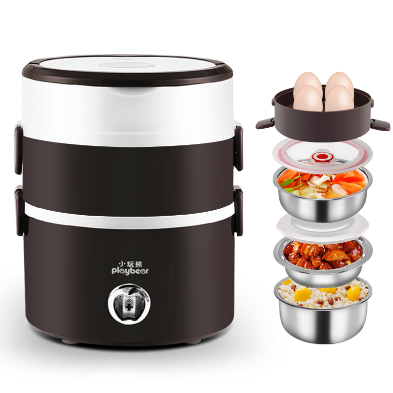 Electric Lunchbox Rice Cooker Three Layers Hot Rice Cooker Cooking Lunch Box Plug In Heating Insulation 2L 1-2 People new portable handle electric lunch boxes three layers pluggable insulation heating lunch box hot rice cooker electric container