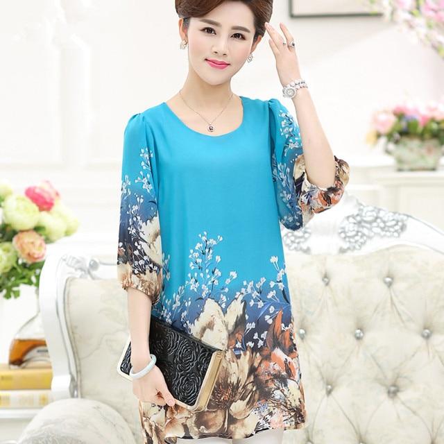 9b5f183f393 fashion female middle age plus size loose Half sleeve tops women spring  summer chiffon O-Neck medium-long shirt mother clothing