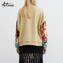 character print o neck knitted oversized sweatshirts SF