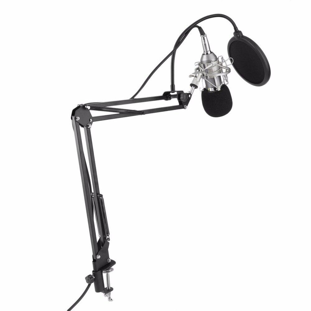 Condenseur à Son Enregistrement Microphone Avec Support Pour Karaoké Radio Braodcasting Chant