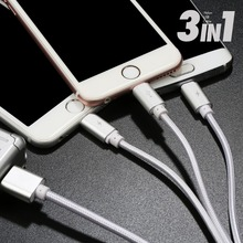 Benks Original 3A USB Cable for iPhone Samsung Xiaomi 3 in 1 Durable Nylon Braided Tangle