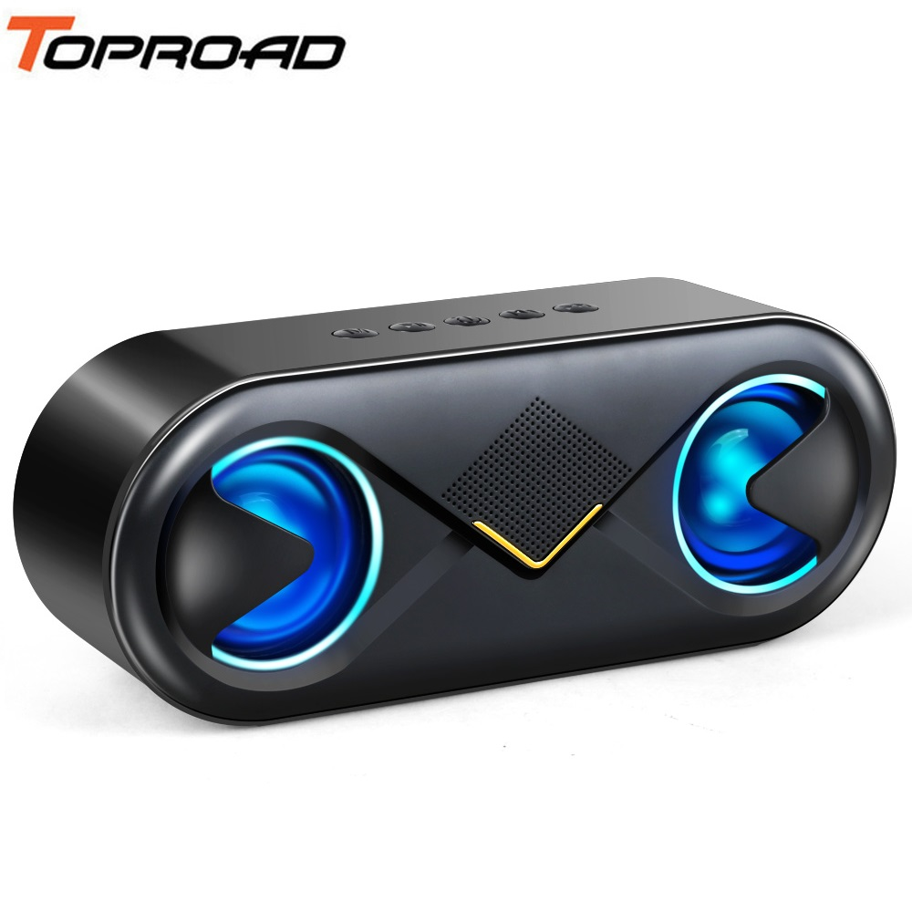 TOPROAD Portable Bluetooth 5.0 Speakers 10W Wireless Stereo Bass Hifi Speaker Support TF card AUX USB Handsfree with Flash LED-in Portable Speakers from Consumer Electronics