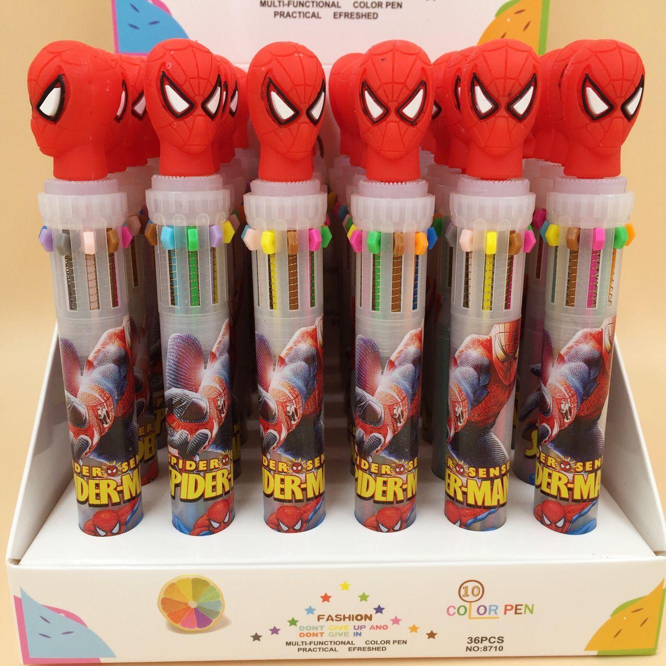 Marvel Hero SpiderMan Hero 10 Colors Chunky Ballpoint Pen School Office Supply Gift Stationery Papelaria Escolar