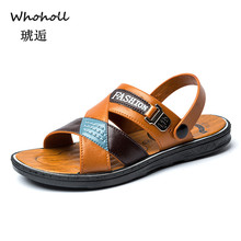Whoholl Hot Sale New Fashion Summer Leisure Beach Men Shoes High Quality Leather Sandals The Big Yards Mens Size 40-45