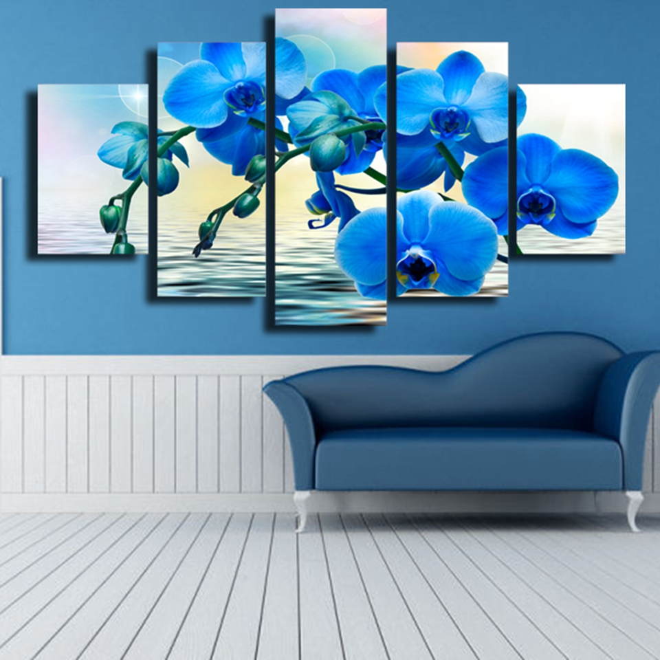 Modern Canvas Pictures HD Printed Wall Art Framework 5 Pieces Blue Orchid Flower For Living Room Home Decoration Painting Poster