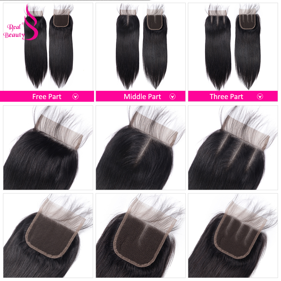 Real Beauty  Straight Hair Lace Closure Three/Free/Middle/ Part  4x4 inch Swiss Lace Closure 4