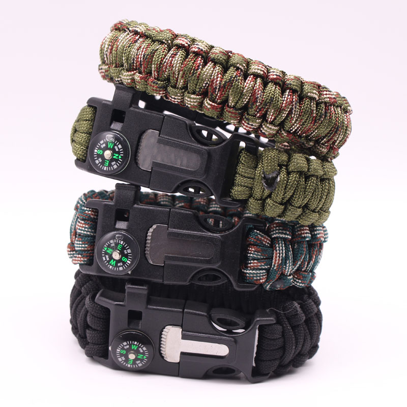 Wholesale 200pcs lot outdoor survival compass paracord Whistle Gear Buckle Camping rescue rope escape Bracel