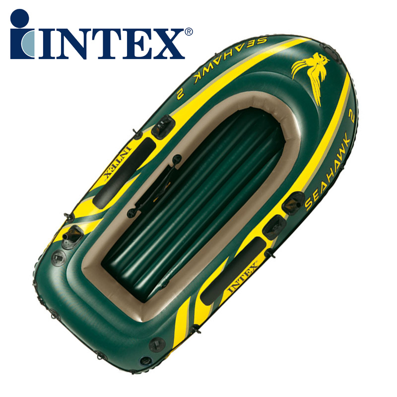 Genuine INTEX68347 2 persons Kayak inflatable rowing boat fishing boat thickening with Paddles and Air pump rowing boats rubber boat kit pvc inflatable fishing drifting rescue raft boat life jacket two way electric pump air pump paddles