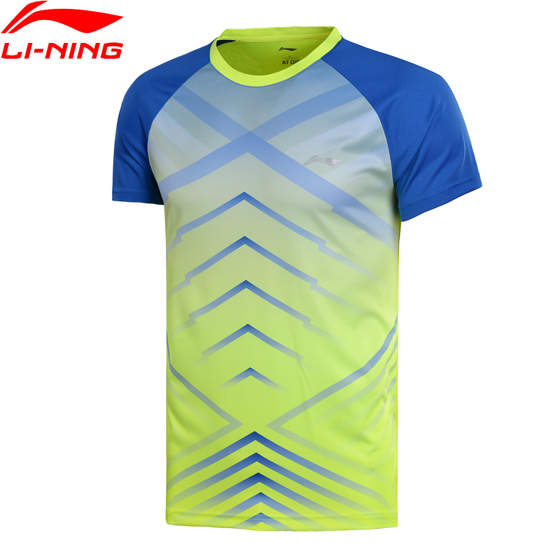 Li-Ning Men Badminton T-Shirts AT DRY Competition Top Fitness Comfort Tennis Tee Li Ning LiNing Sports T-shirt AAYN029 MTS2704