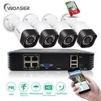WOASER 48V 1 0MP 4CH HDMI P2P POE NVR Surveillance System 720P Home Security CCTV Kits