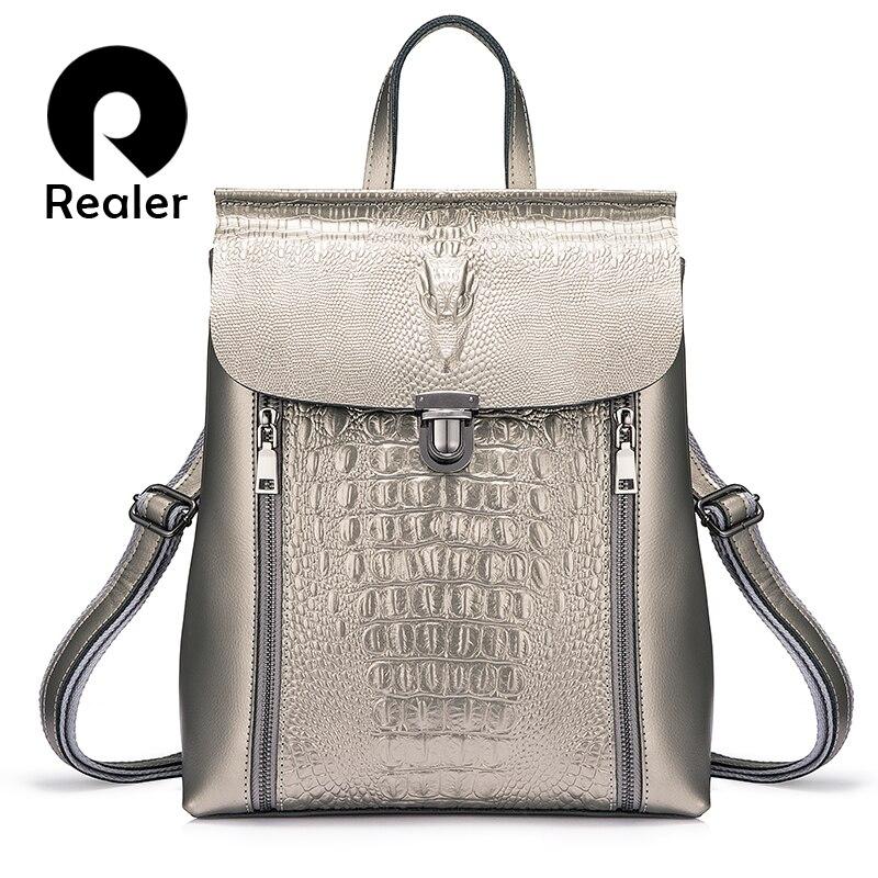 REALER sac à dos femmes split cuir école voyage sac à dos pour fille adolescents crocodile imprime sac étanche de haute qualité