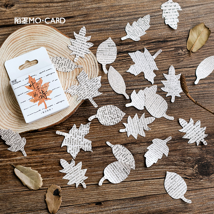 45pcs/pack Leaves Shape Label Stickers Set Decorative Stationery Craft Stickers Scrapbooking DIY Diary Album Stick Label