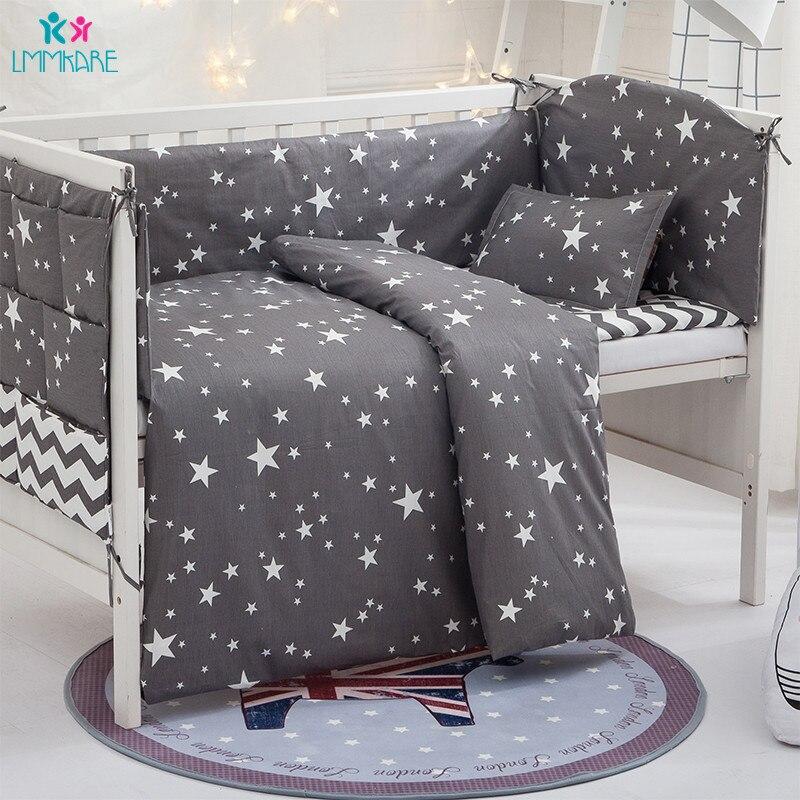 Coton gris étoiles bébé ensembles de literie nouveau-né berceau pare-chocs comprennent bébé oreiller + feuille + housse de couette pour garçons bébés produits
