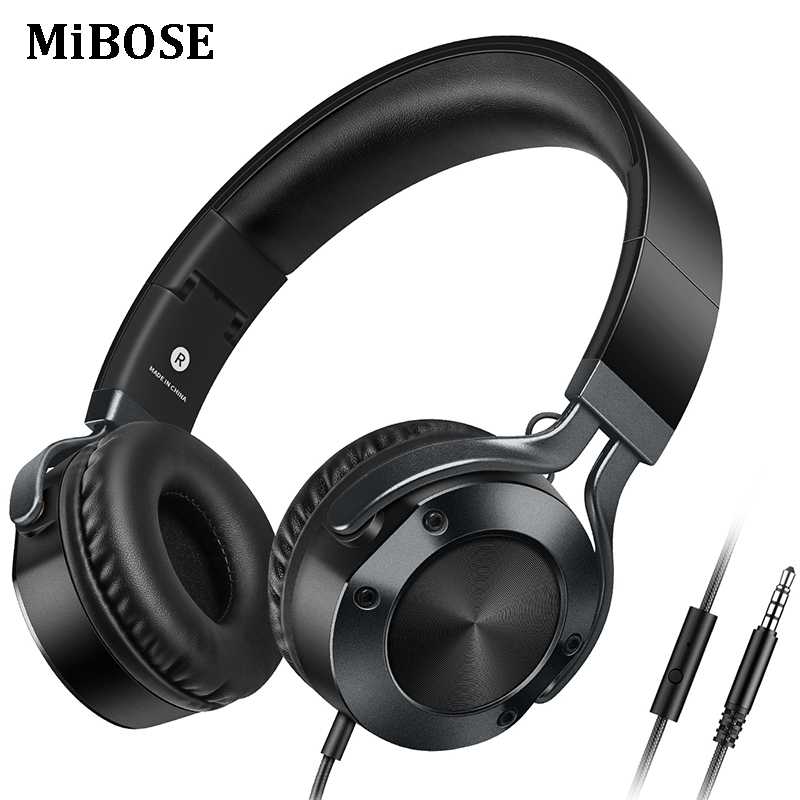MiBOSE Stereo Over ear Headphones With Microphone Portable Foldable Earphones and Headset For Phone Computer MP3 Gaming headsets merrisport lightweight foldable wired girls headphones kids headsets with microphone and remote control for computer phone mp3 4