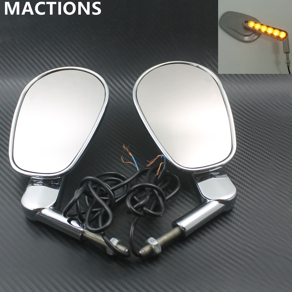 Motorcycle Chrome LED Turn Signals Light Rear Side View Mirrors Mirror Muscle Case Fit For Harley
