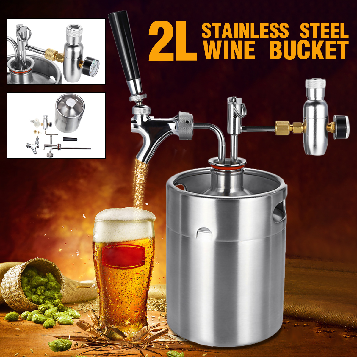 Beer Keg Faucet Dispenser Craft Wine Growler Pressurized Stainless-Steel Mini 2L  title=