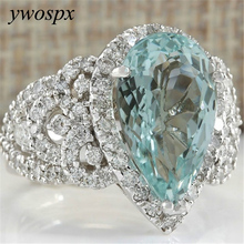 Luxury Sky Blue Crystal Zircon Silver Color Rings for Women Statement Jewelry Wedding Engagement CZ Ring Anillos Bijoux Gifts Y3 classic anillos red crystal zircon black color rings for women jewelry wedding engagement ring statement gifts y20