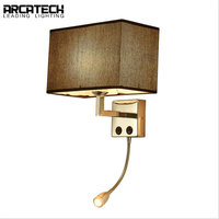 New American Bedside Wall Lamp Creative Led Aisle Lamp Chinese Style Fabric Bedroom Bedside Lamp Hotel Reading Wall Lamp AT 105