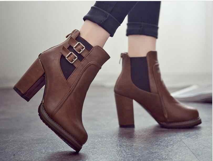 Hebilla de otoño clásico de gran tamaño botas de otoño primavera zapatos cortos de Mujer Zapatos de tacón alto botas de mujer Botines de mujer negro