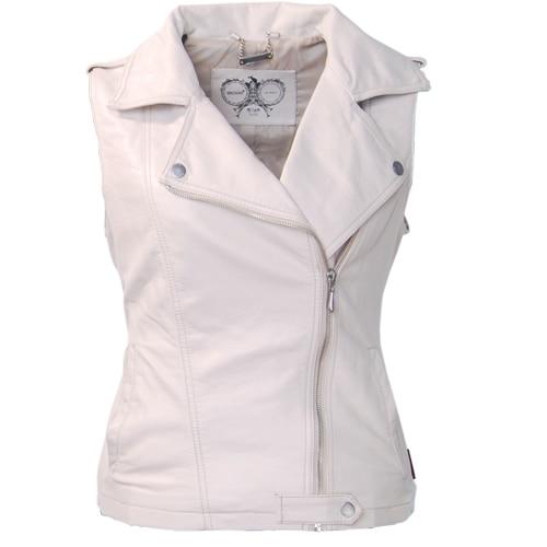 Women sleeveless jacket pu leather motorcycle vest jacket coat casual fashion short Beige female vests WaistCoat Biker
