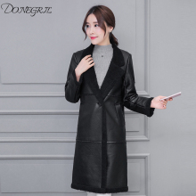 2018 faux leather jacket women suede coat abrigo mujer female fall winter thickening windbreaker long black