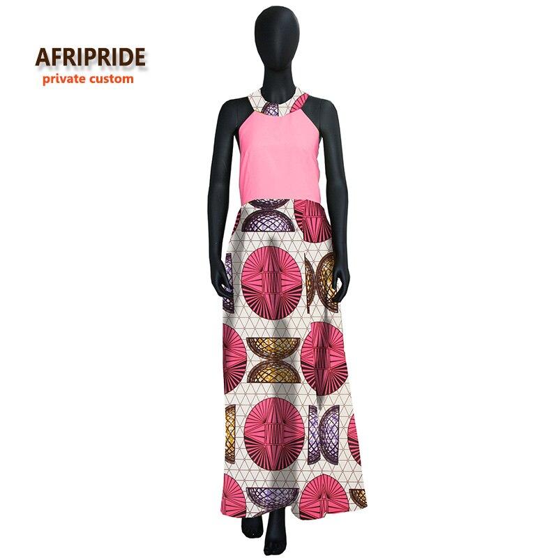2018 Original Afripride privé personnalisé vêtements africains robe de soirée pour dames longueur cheville sans manches batik robe d'été A722535