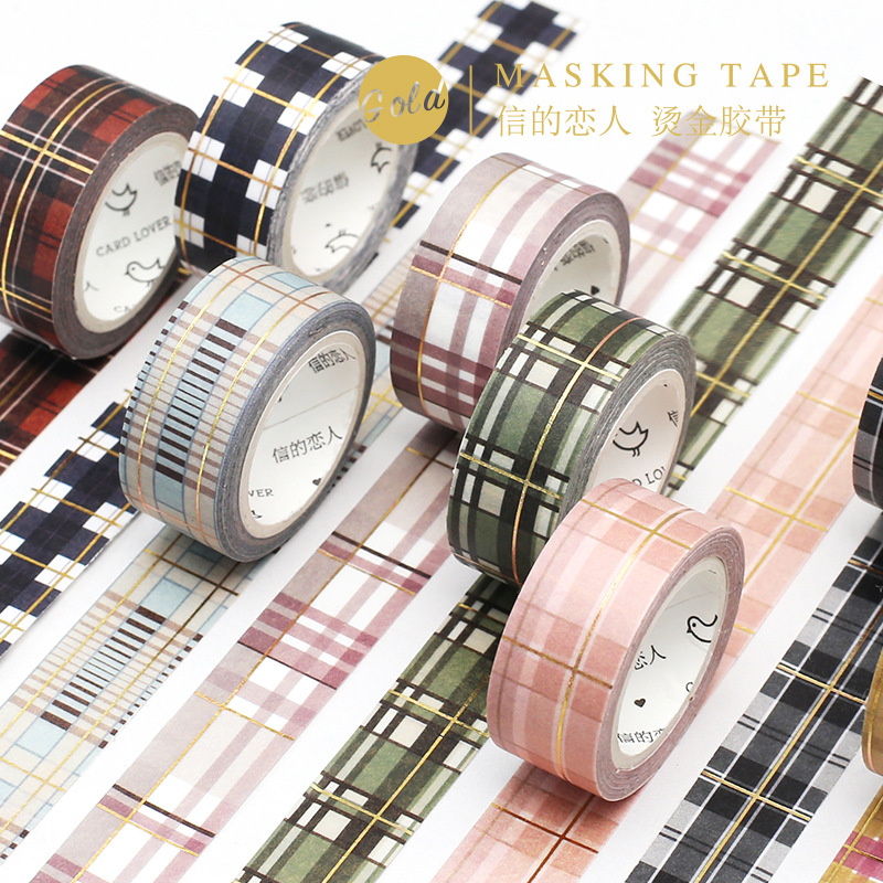 LoveFrom Masking  Washi  Tape Scottish Plaid Hot Stamping Tape Kawaii Tape Planner Decoration Diary Decoration Student Supplies