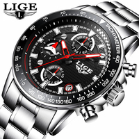 LIGE Fashion Mens Watches Top Brand Luxury Quartz Clock Sport Watch Men Full Steel Business Waterproof