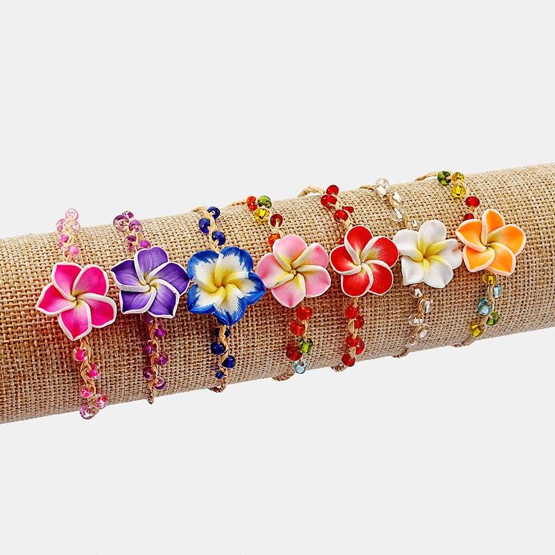 6pcs  Mixed Colorful Plumeria Flower Fimo Clay Friendship Handmade Bracelets Surf Beauty Jewellery