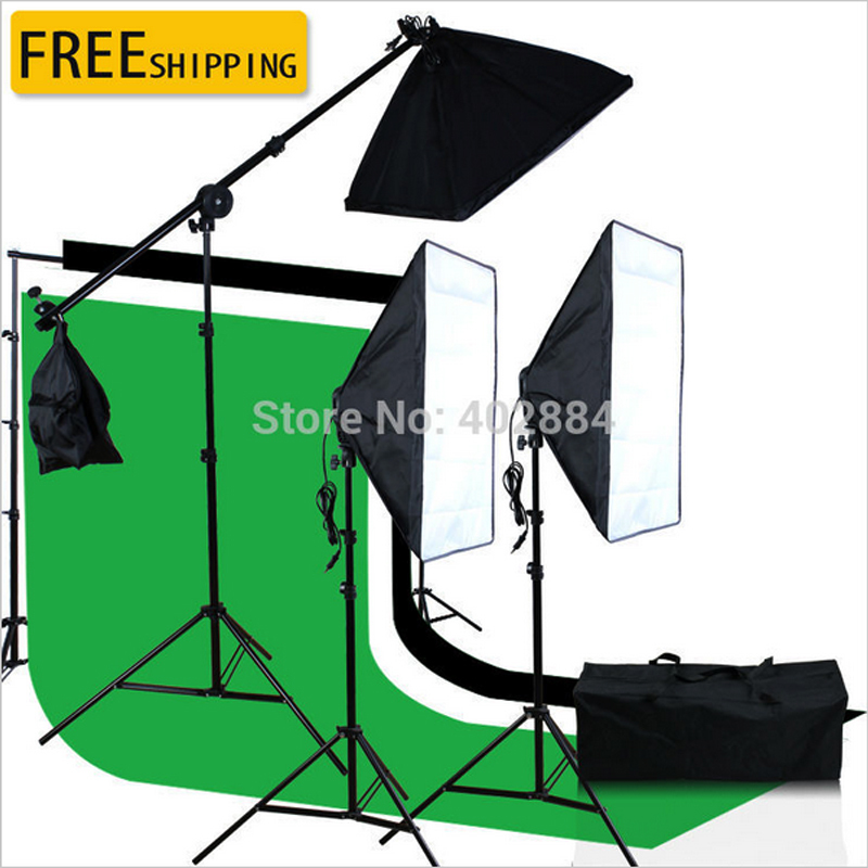 3x6M Green Black White Muslin Backdrop 2.6 x3M Background Support 50 x70cm Softbox Photo Studio Kit Suit With Carry Bag