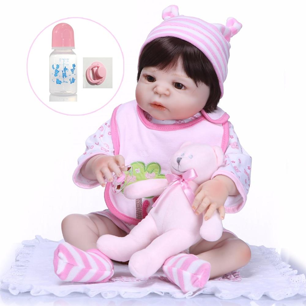 55cm whole hard Silicone Vinyl Reborn Baby Menina 22 inch Bebe Infant Lifelike Babies Doll and soft bear Toy Kids Gifts NPK DOLL