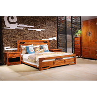 large king size Antique mahogany bed bedroom wedding furniture soft bed by sea shipping