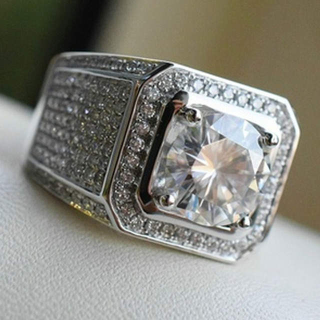 Silver Classic Cubic Zircon Ring Main Stone Simple Business Men S