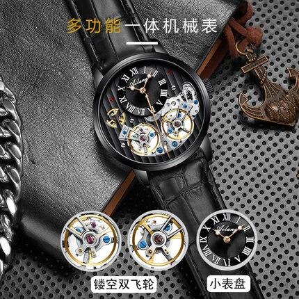 Montres à Double Tourbillon AILANG montre automatique pour hommes Original montre-bracelet mécanique pour hommes en cuir 2019
