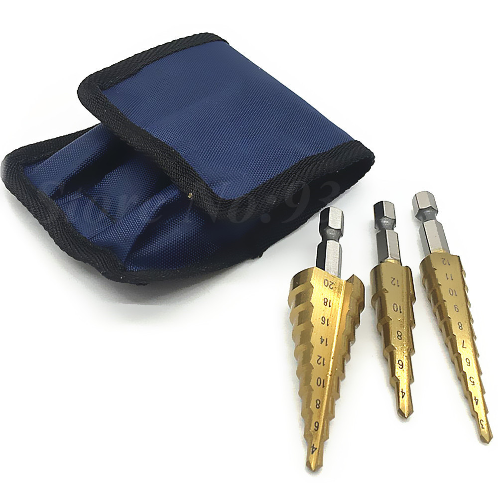 Titanium Coated HSS Step Cone Drill Bit Set Hole Cutter