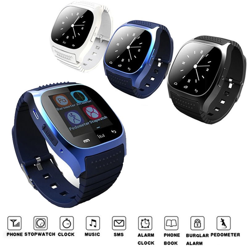 imágenes para Mejor M26 Reloj Inteligente Bluetooth Reloj de Pulsera Hombres Mujeres de Lujo Smartwatch Con Podómetro Para Android IOS Teléfono Móvil Reproductor de Música