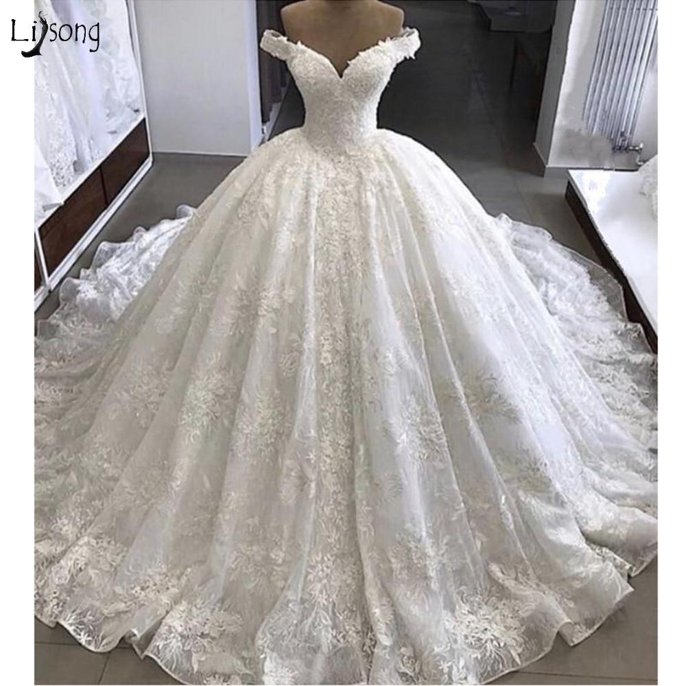 Dubai Unique Lace Wedding Dresses With Royal Train Elegant