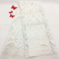 White African Lace Fabric 2018 High Quality Lace, Nigerian Lace Fabric, Party Net Lace Flower Fabrics HJ1185 1